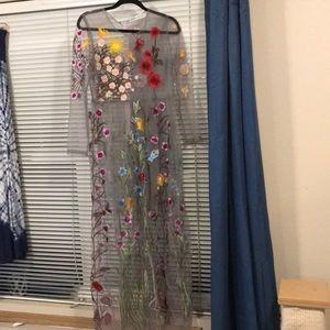 Full length sheer floral embroidery dress, L NWOT